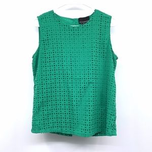 Cynthia Rowley Green Laser Cut Out Top Blouse